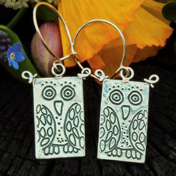 Owl earrings, polished silver